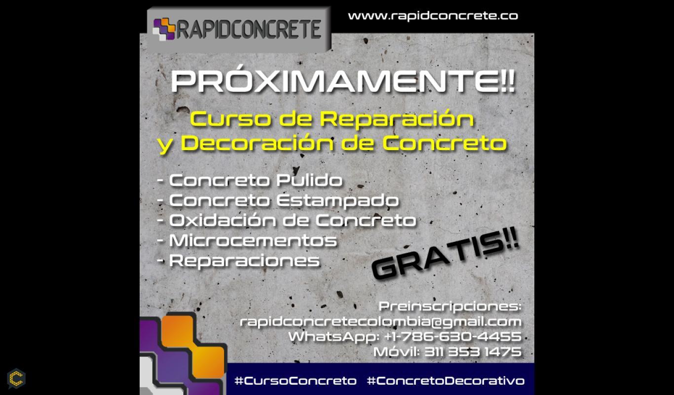CURSO GRATUITO DE REPARACIÓN Y DECORACIÓN DE CONCRETO