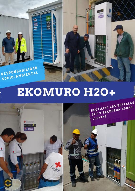 PROYECTO EKOMURO H2O+ RECOLECCIÓN DE AGUAS LLUVIA CON ENVASES PET