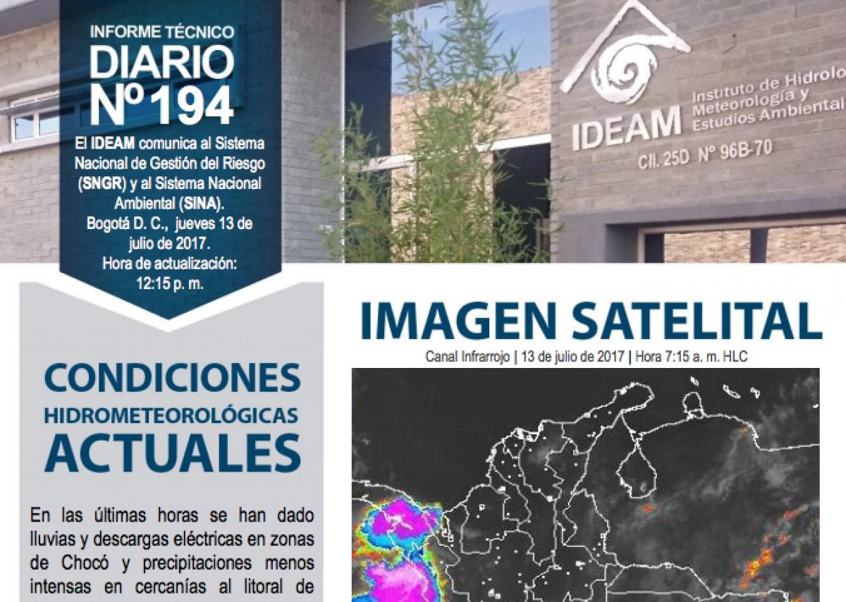 Reporte Hidrometeológico del IDEAM