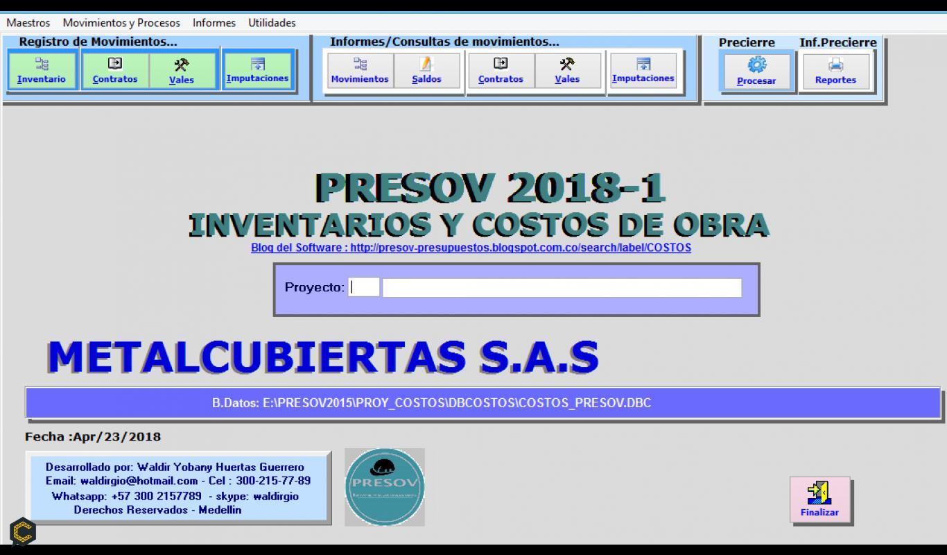 Presov, Software para Presupuestos y Control de Costos.