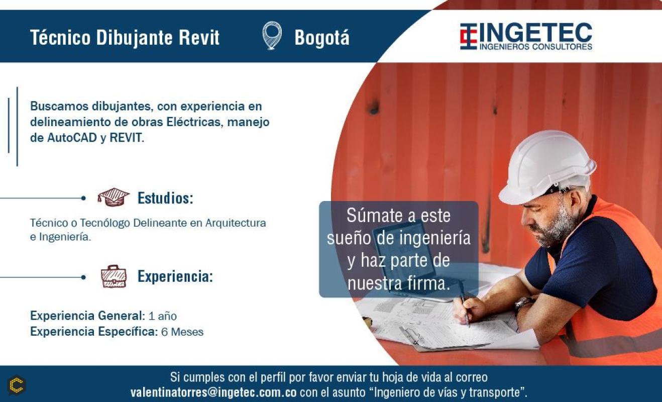 Ingetec Ingenieros Consultores busca Técnico o Tecnólogo Dibujante Revit en Arquitectura e Ingeniería.