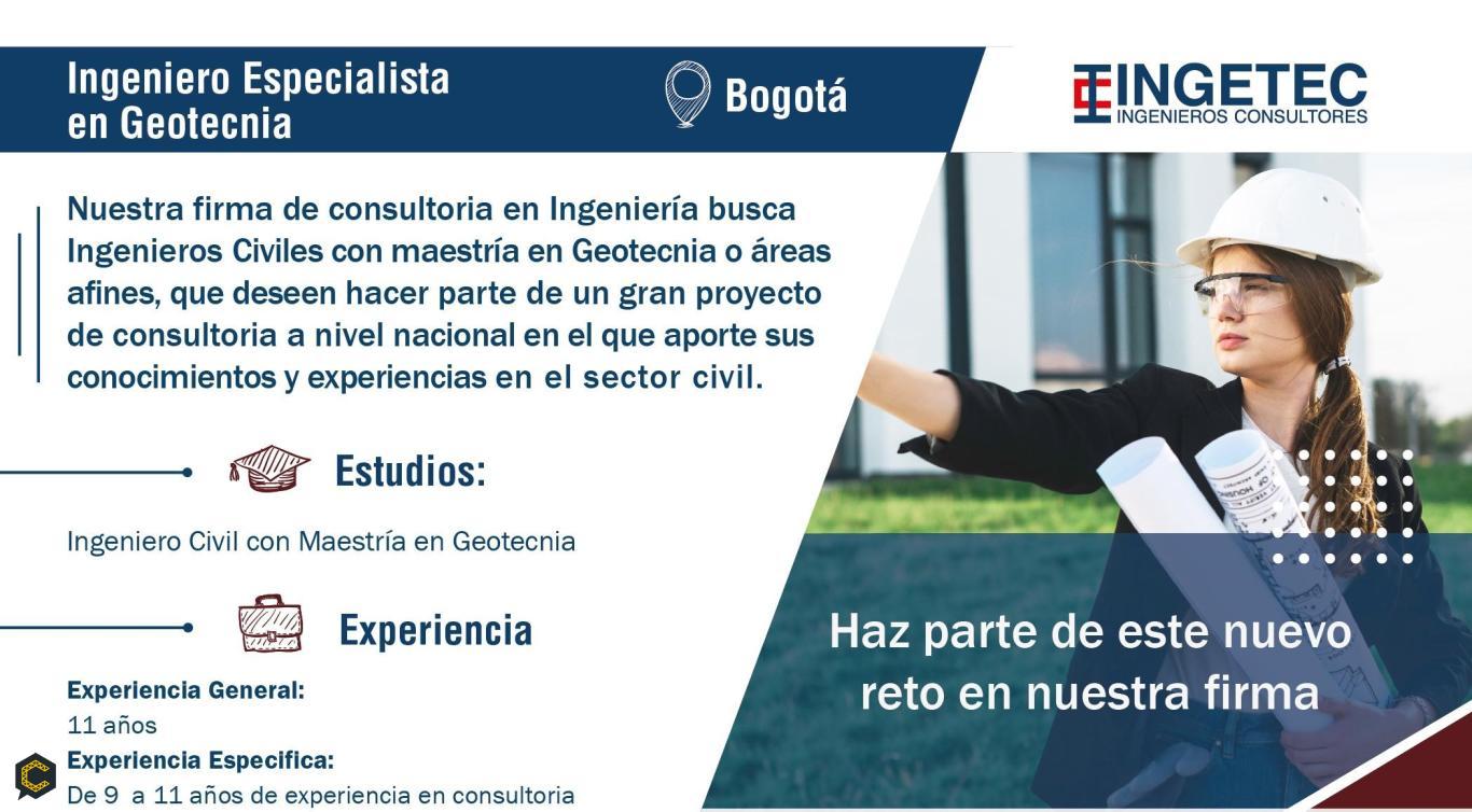 Ingetec Ingenieros Consultores solicita Ingeniero Especialista en Geotecnia