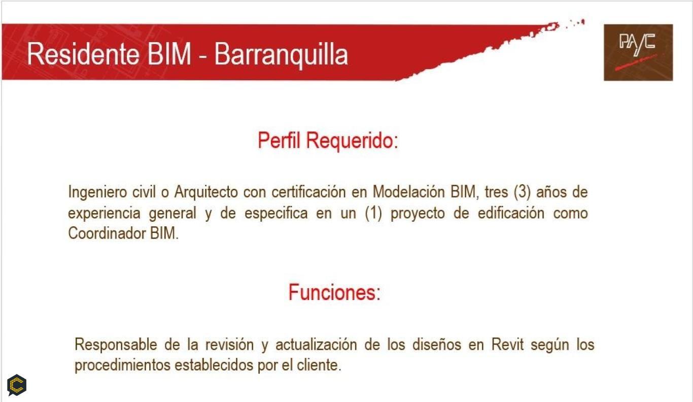 Empresa solicita Ingeniero Civil o Arquitecto con certificación en modelación BIM.