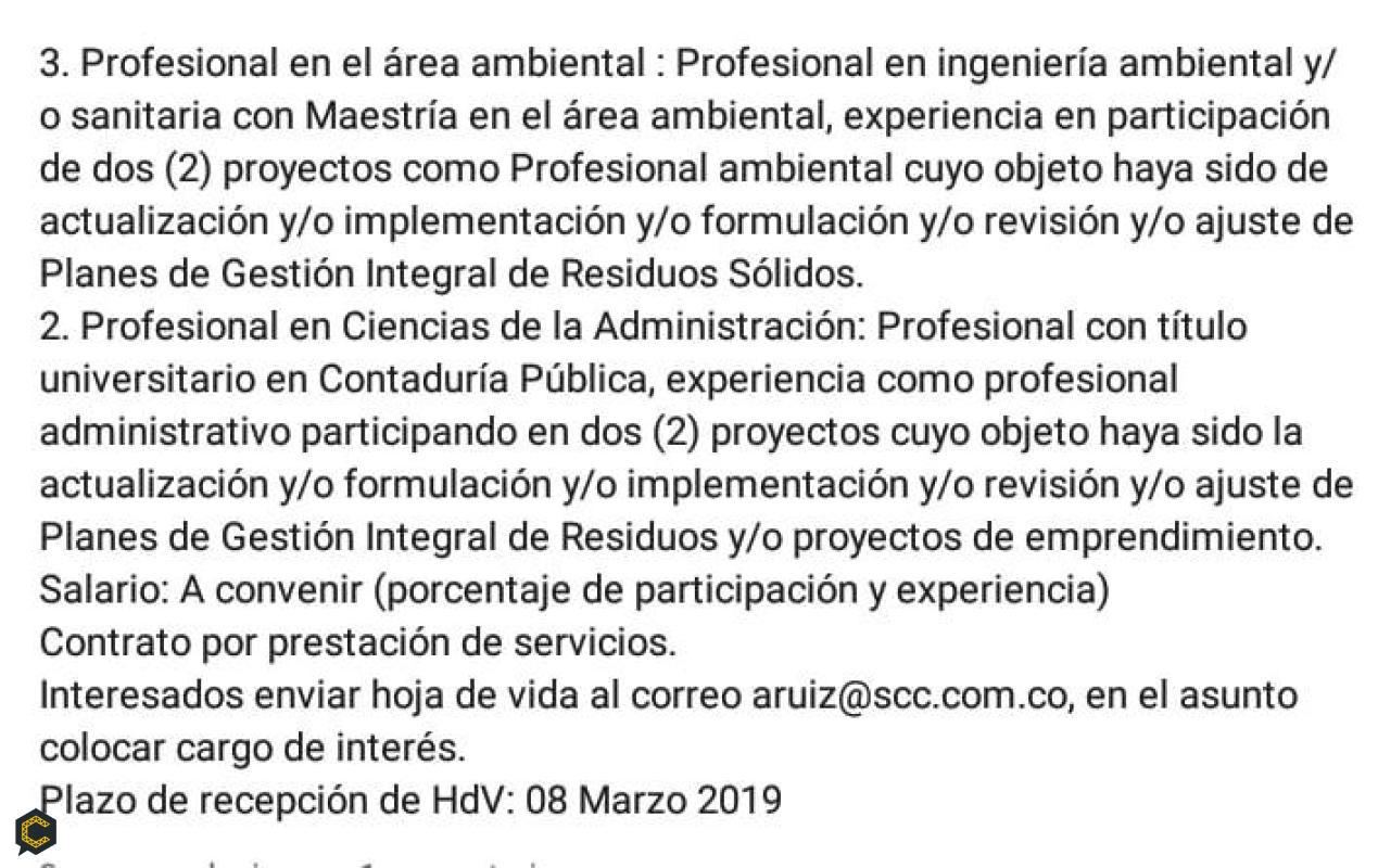 Se solicita Profesional en el área Ambiental.
