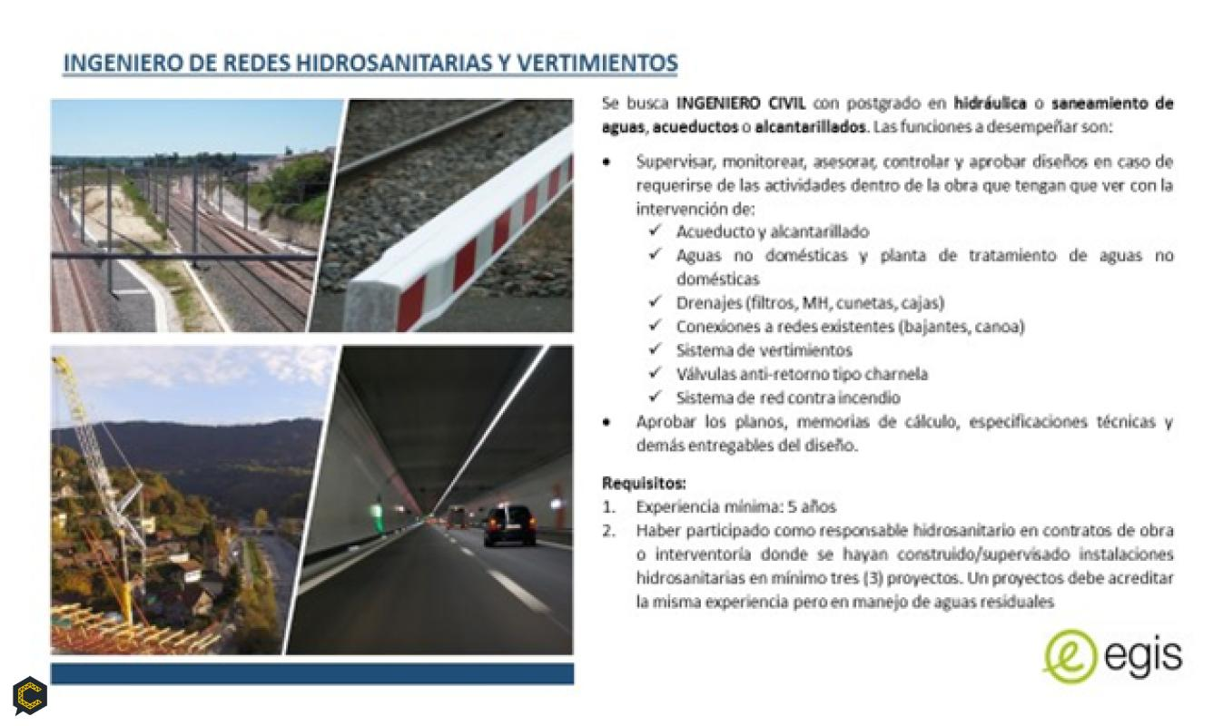 SE BUSCA: Ingeniero Hidrosanitario para proyecto de infraestructura en Medellín