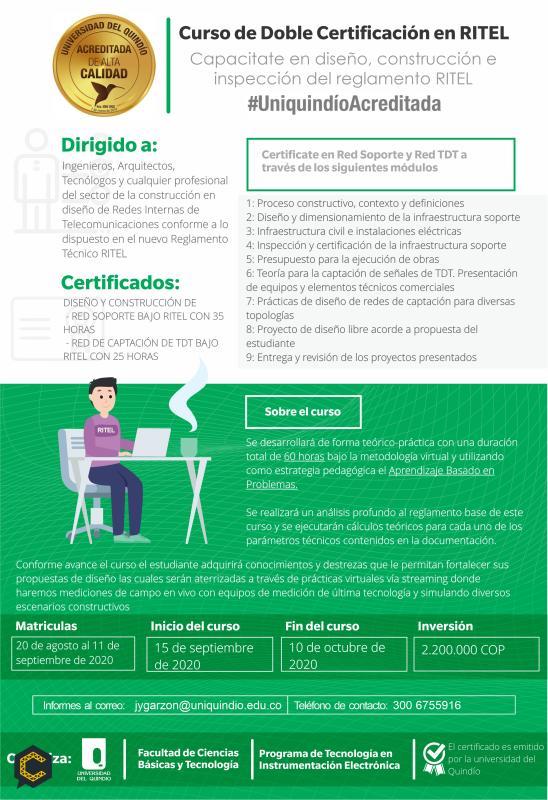 Curso virtual de doble certificación en RITEL habilitante para diseño, construcción e inspección del reglamento RITEL.