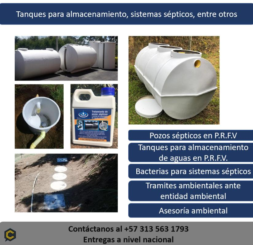 Tanques, plantas de tratamiento de aguas, sistemas sépticos, almacenamiento de agua